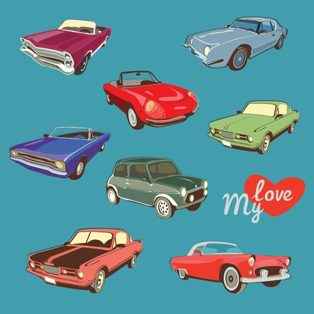 isolated retro car collection Vector