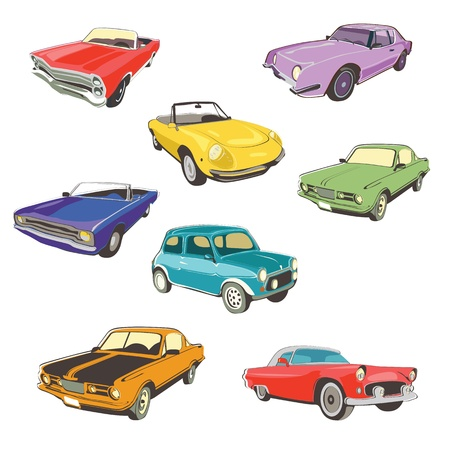 isolated retro car collection
