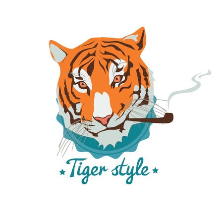 portret: Wild cat cartoon-Smoking tiger portret Illustration