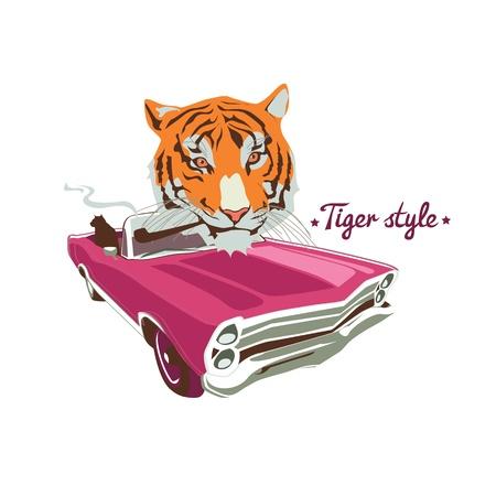 car driver: Wild cat retro car driver