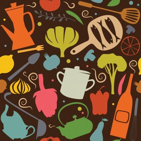 illustration of food: Patr�n de Cocina Vectores