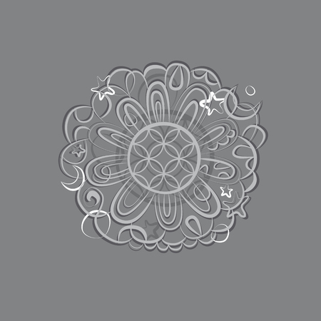 esoterics: Fantasy mandala silver ornament Illustration