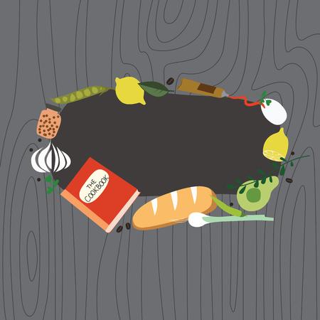 cookbook: Recipe frame with cookbook Illustration