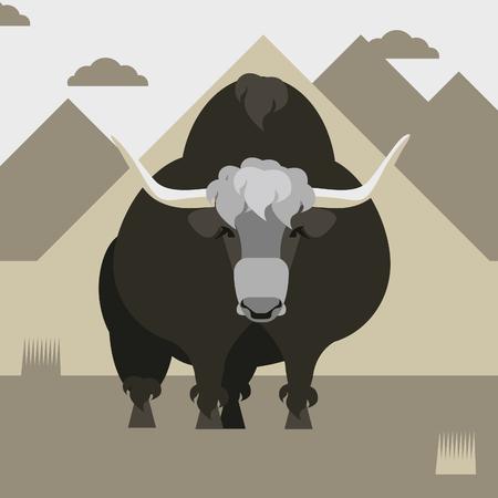 Vector illustration with wild Yak