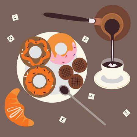 Turkish coffee and sweet breakfast Vector