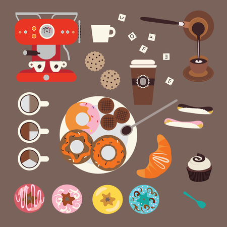 Coffee and sweets illustrations Vector