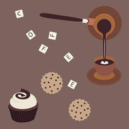 food clipart: Turkish coffee and cake