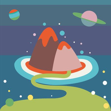 alien landscape: Alien paesaggio Vettoriali