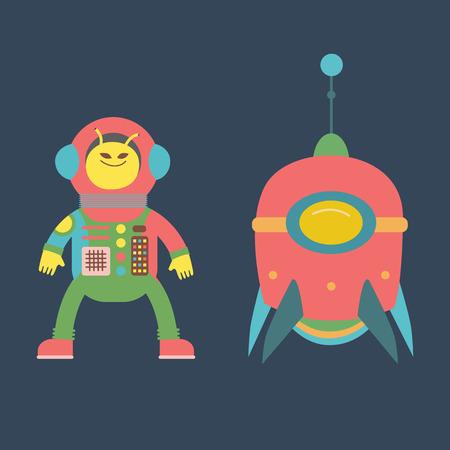 cute alien: Cute alien and rocket illustration