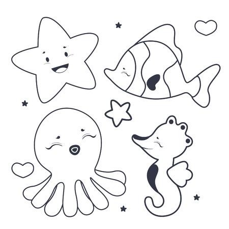 seastar: Cute sea characters coloring book Illustration