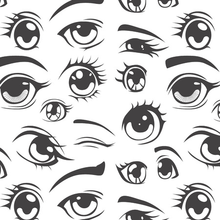 Anime style seamless pattern Vector