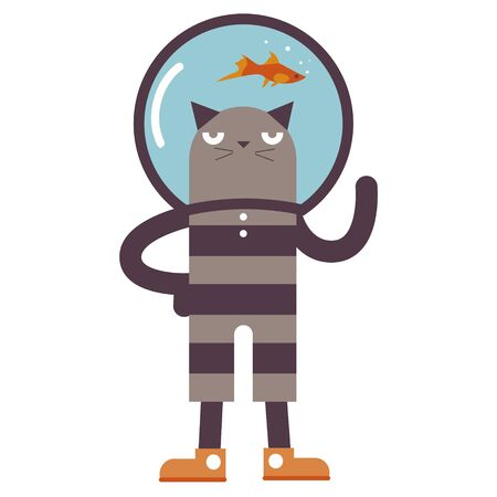 aquarian: Cartoon cat with aquarium fish Illustration