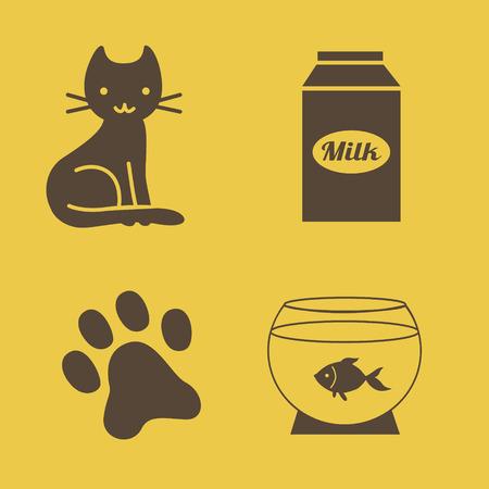 aquarian fish: cats theme icons