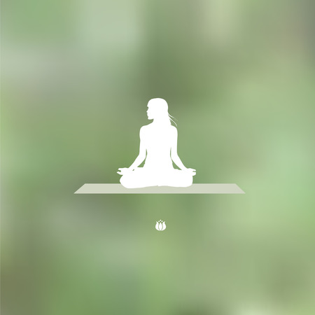 esoteric: Relaxation pose Blurred green background Illustration