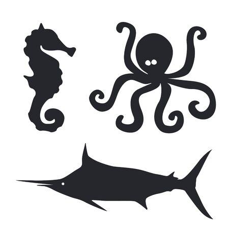 sea horse: Sea horse Octopus and big fish illustrations set Illustration