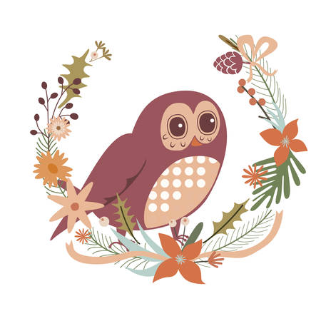Floral design with owl character Illustration