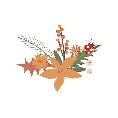 Floral design with ladybug Illustration