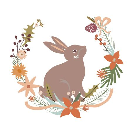 Floral design with rabbit