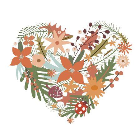 Elegant heart from flowers with ladybug Illustration