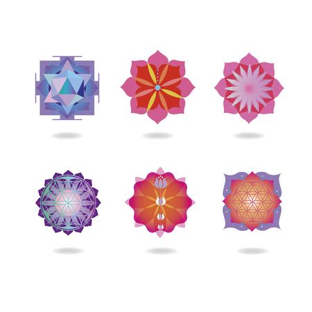 sacral chakra: Mini mandalas set