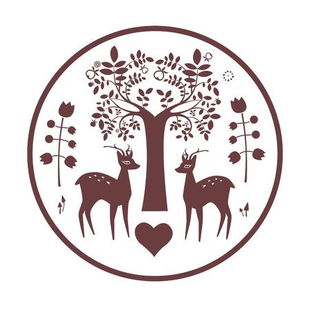 Round famtasy design with deer Illustration