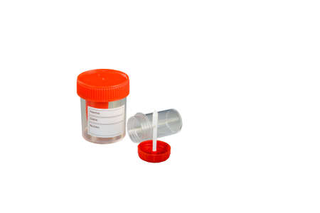 Two medical container with red cap isolated on white