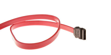 Red SATA cable isolated on white