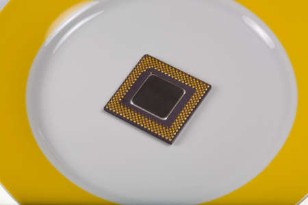 Concept. To serve cold: CPU on the gold plate