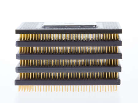 Stack of CPU on white background