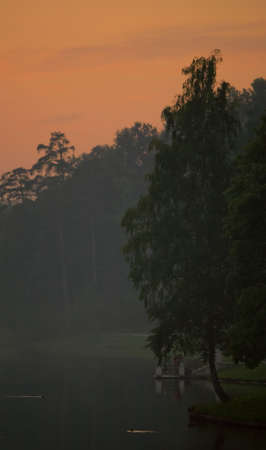 Summer sunset in city park. Fog on the ponds water. Stock Photo