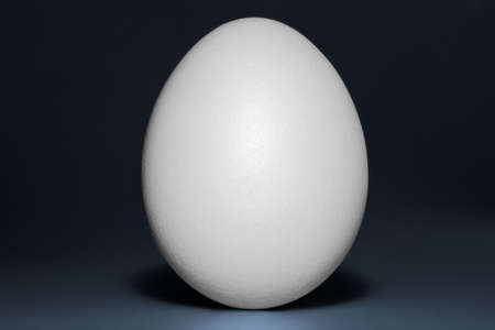 One vertical standing white egg