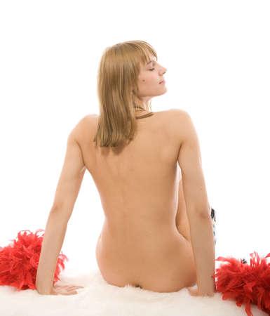 Rilassamento della bella ragazza. Vista posteriore