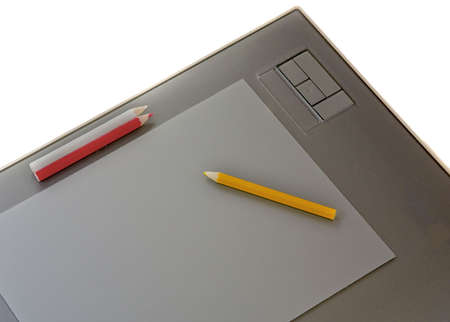 Graphic table with color pencil Stock Photo