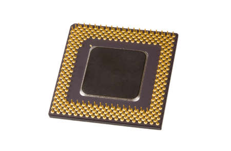 One computer processor on the white background