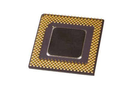 Un processore del computer su sfondo bianco