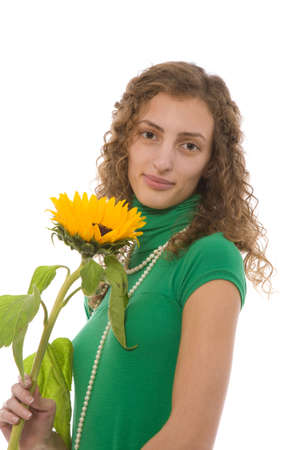 Young adult girl and sunflower