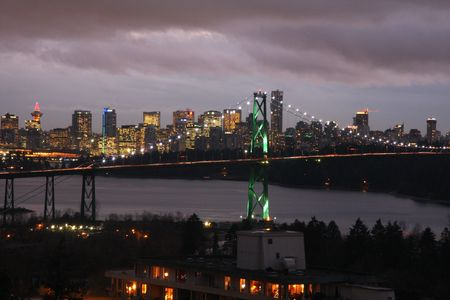 Lions Gate Bridge, Vancouver at night Stock Photo
