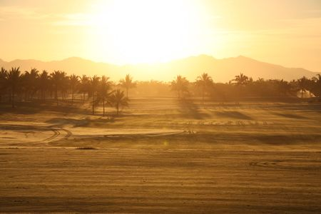 early morning sunrise on golf course in Mexico