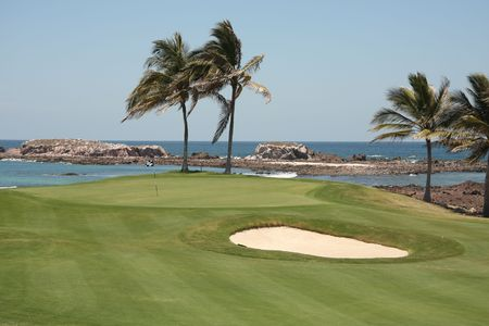 golf green on ocean in Mexico