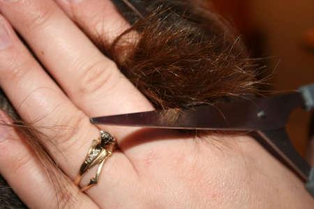 woman cutting hair 写真素材