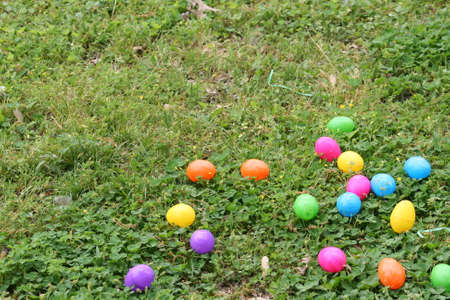 easter eggs on the ground many colors