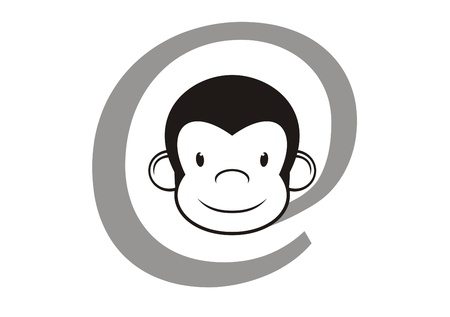 e commerce icon: Internet sign with monkey hard