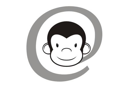 e commerce icon: Suscripci�n a Internet con el mono duro Vectores