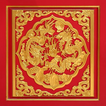 Wood carved on red door, Chinese style photo