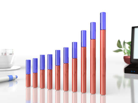 proved: The graph has proved the business performance is strong  Stock Photo