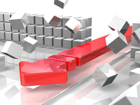 A red arrow is attacking barriers  It represent the  break through