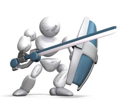 HUMANOID 전투 로봇이 흰색 배경에, 컴퓨터 생성 이미지입니다 새로운 기술을 나타냅니다