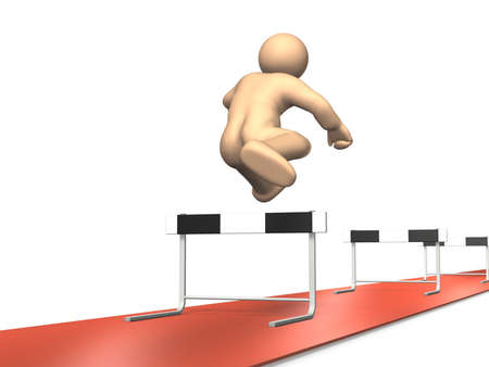 continued: The man has continued to run the hurdles  This is a computer generated image,on white background
