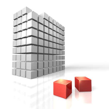 少数を表す 2 つの赤いキューブ