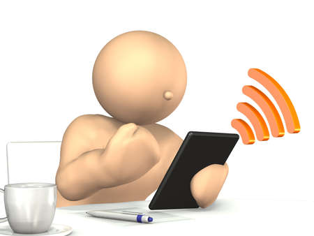 남자는 흰색 배경에, 이것은 컴퓨터 생성 이미지 자신의 태블릿 PC에 최신 뉴스를 읽고